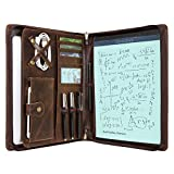 Vintage Leather Portfolio Folder Case for iPad Pro 12.9/10.5/9.7 inch, iPad Air, New Surface Pro 5/4/3, MacBook 11.6/12 inch, Tablet Folio Organizer Padfolio Crazy Horse Leather Card Holder Zipper