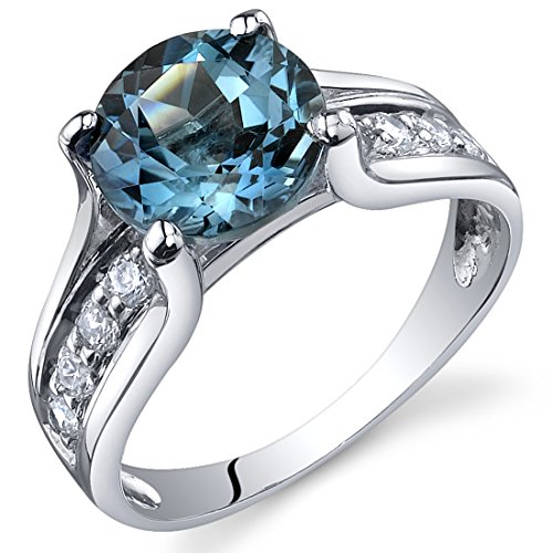 Large Blue Topaz Ring - London Blue Topaz Solitaire Style Ring Sterling Silver 2.25 Carats Size 6
