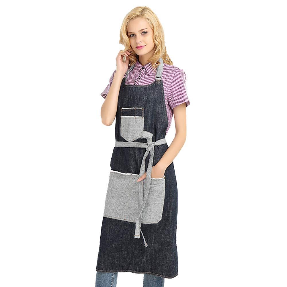 JYPHM Delantal de chef con bolsillos, delantal de cocina para mujeres y hombres, restaurante, hogar, barbacoa, parrilla profesional, ajustable, ...