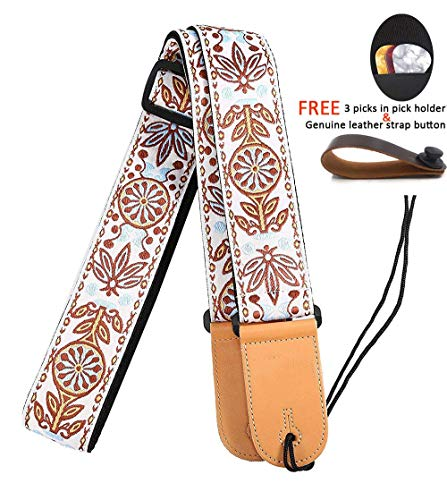 Acoustic Classical Guitar Straps - Hootenanny Guitar Strap 2 inches with Leather Ends Adjustable for Bass Acoustic Classical and Electric Guitars, Free Leather Strap Button, Guitar Picks by WINGO-Holiday Gift for Musician Friend