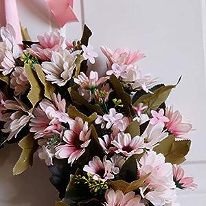 Shouyi Artificial Daisy Flower Wreaths Flowers Garland for Front Door Wall Home DIY Garden Office Wedding Decor 2