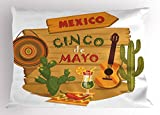 Lunarable Cinco De Mayo Pillow Sham, Mexican Fiesta in Desert Under Shadow Theme with Cocktail and Guitar Elements, Decorative Standard King Size Printed Pillowcase, 36 X 20 Inches, Multicolor