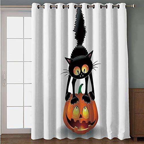 iPrint Blackout Patio Door Curtain,Halloween Decorations,Black Cat on Pumpkin Spooky Cartoon Characters Halloween Humor Art,Orange Black,for Sliding & Patio Doors, 102