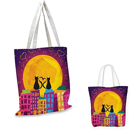 (Animal fashion shopping tote bag Cats on the Roof with Heart Shaped Tales Watching the Moonlight at Night in Town canvas bag shopping Purple Orange. 15