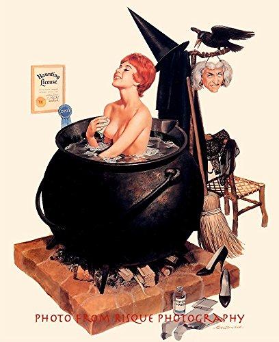 Nude Witch Taking a Bath in a Cauldron 8.5x11