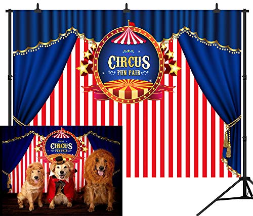 DePhoto 7X5FT(210X150CM) Blue Curtain Circus Stratus Playground Fun