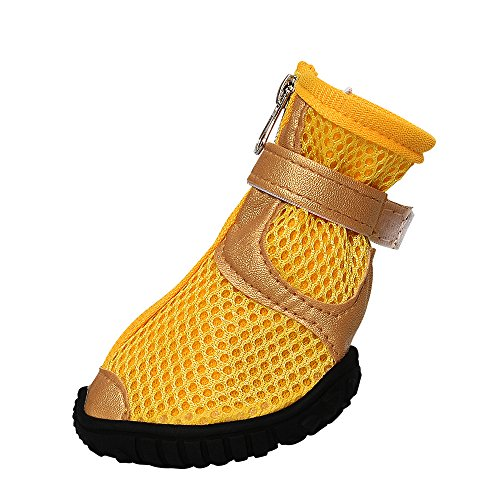 Dog Boots Waterproof Dog Shoes Dot Boots with Anti-Slip Sole Yellow for Medium Large Dogs Pack of 4 Pcs (L) ()
