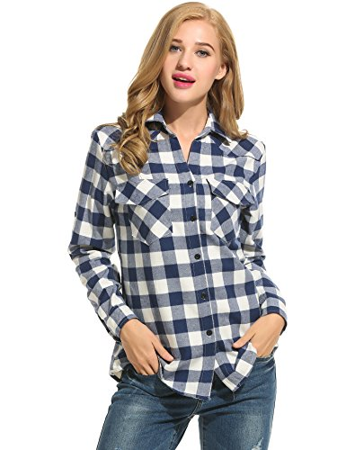 Zeagoo Women's Roll Up Sleeve Casual Loose Boyfriend Plaid Button Down Shirt (Large, Dark Blue) (Navy Plaid Flannel)
