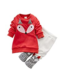 DOTACOKO Baby Girls Cute Fox Long Sleeve Sweatshirt Suit Velvet Pant Set