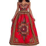 Raylans Women's African Print Strapless Casual Party Dress Maxi Dress Red XL
