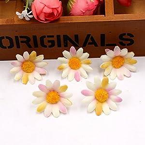 Artificial Flowers Fake Flower Heads Small Silk Sunflower Handmake Head Wedding Decoration DIY Wreath Gift Scrapbooking Craft Party Festival Home Decor Fake Flower 100pcs (Colorful) 4
