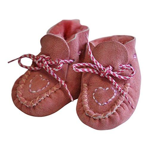 Hollert German Leather Fashion Baby Lammfellschuhe - Herzchen Neugeborene Merino Fellschuhe Krabbelschuhe Rosa