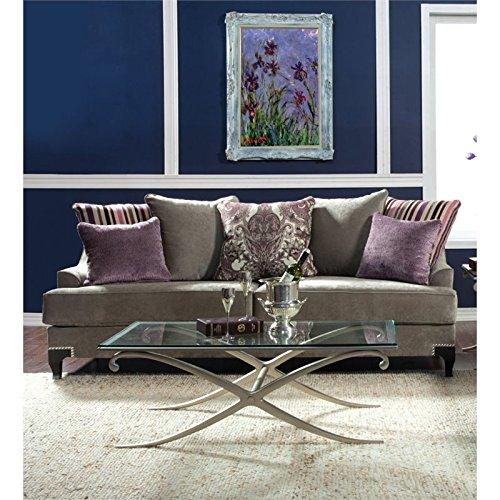 Furniture Of America Charlette Velvet Upholstered Sofa In Light Gray Best Sofas Online Usa