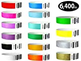Goldistock 3/4'' Tyvek Wristbands The Ultimate Variety Pack 16 Colors - 6,400 Ct.- Green, Blue, Red, Orange, Yellow, Pink, Purple, Gold , Silver, Aqua, White, Black, Evergreen, Berry, Sky Blue, Sunrise