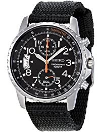 Men's SNN079P2 Chronograph Stainless Steel Watch With Black Cloth Band