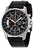Military Watches Seiko Men's SNN079P2 Chronograph Stainless Steel Watch With Black Cloth Band