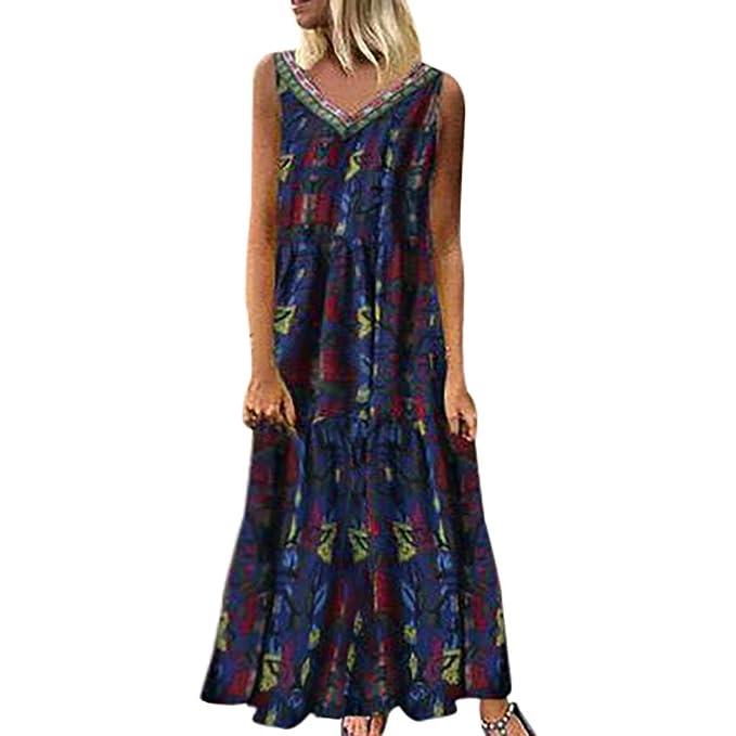 Plus Size UK Womens Cotton Linen Floral Print Dress Loose Casual V Neck Sundress