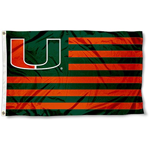 Miami Hurricanes Canes Alumni Nation Stripes Flag Miami Canes
