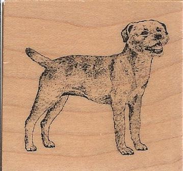 Border Terrier Dog Wood Mounted Rubber Stamp (C1209)