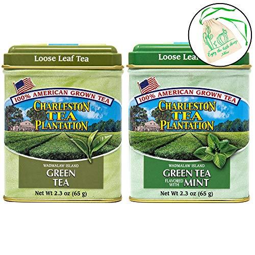 Charleston Tea Plantation Loose Leaf Green Tea Set of 2 - Green Tea, and Green Mint Tea in 2.3oz Tins, with Drawstring -