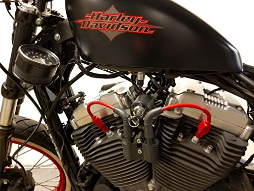 JBSporty ♧ Coil and Ignition Relocation Bracket w/ Red Taylor Wires Harley Davidson Sportster, Nightster, 72, 48 Iron Roadster 883 1200 (Sportster Nightster)