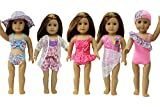ZITA ELEMENT 5 Sets American Girl Doll Summer Bikini Swimwear Swimsuits Bathing Suits for 18'' Dolls