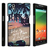 ZTE ZMax Phone Case, Slim Armor Snap On Hard Case Combo for ZTE ZMax Z970 (T Mobile, MetroPCS) from MINITURTLE | Includes Clear Screen Protector and Stylus Pen - Life at the Beach offers