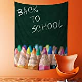 SCOCICI1588 Wall Hanging Tapestries back to school colour pencils in vibrant tones in front of a blackboard in a classroom Bedroom Living Room Dorm Decor 40W x 60L INCH