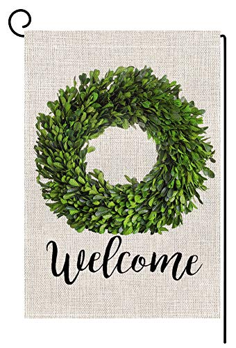 Welcome Boxwood Wreath Small Garden Flag Vertical Double Sided 12.5 x 18 Inch Spring Summer Farmhouse Burlap Yard Outdoor Decor