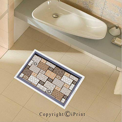 Floor Stickers Waterproof Safety Colorful Patchwork Art Oriental Patterns Ornaments Cultural Illustration Print Wall Floor Decals Decor for Bathroom Kitchen Backsplash, 35.4x22.8Inch,Brown Cream
