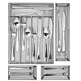 Kitchen silverware Drawer Organizer, 5+3 Separate Compartment with Anti-slip Mats Mesh Kitchen Cutlery Trays Silverware Storage Kitchen Utensil Flatware Tray