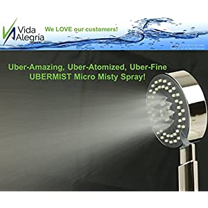 Vida Alegria UBERMIST 2.5GPM Handheld Shower Head with Steel Hose, Holder, 2 Regular Sprays & Mist Mode