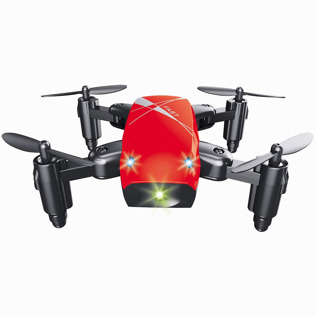 ICCQ S9HW Mini Foldable Drone S9 RC Helicopter Drones 6 Axis Gyro Quadcopter Good Choice for Drone Training (Red) by ICCQ