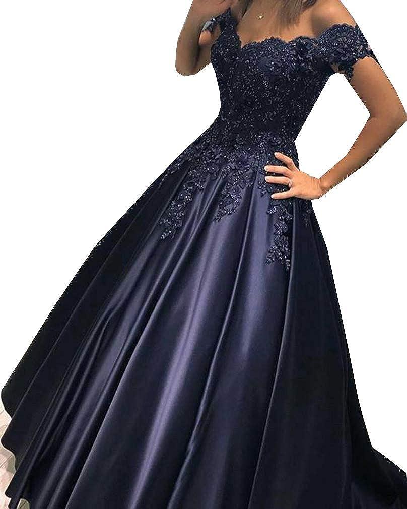 Style3 Navy Engerla Bridal Women's Satin Prom Dress Off The Shoulder Beaded Aline Long Homecoming Dress