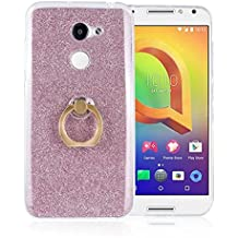 Alcatel A3 Case,Gift_Source [Ring Holder Kickstand] Slim Thin Flexible Bling Glitter Sparkle TPU Rubber Gel Case Shock-Absorption Clear Soft Bumper Cover Skin for Alcatel A3 (5.0 inch) [Pink]