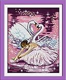 Joy Sunday Cross Stitch kits, Dance of the swan,11CT Printed, 44cm×54 or 17.16''×21.06''