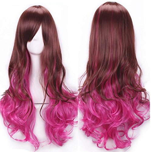 [DEESEE(TM) Women Lady Long Hair Wig Curly Wavy Synthetic Anime Cosplay Party Full Wigs Cosplay wig] (Making Waves Sailor Costume)