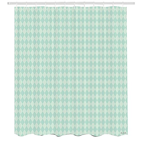 Argyle Metal Bed - Argyle Shower Curtain,Soft Toned Pastel Diamond Shapes with Old Fashioned Vintage Argyle Motif,Cloth Fabric Bathroom Decor Set with Hooks,72 by 72 inches,Mint Green and Seafoam