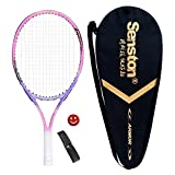 Senston 23' Junior Tennis Racquet for Kids Children Boys Girls Tennis Rackets with Racket Cover Pink with Cover Tennis Overgrip Vibration Damper
