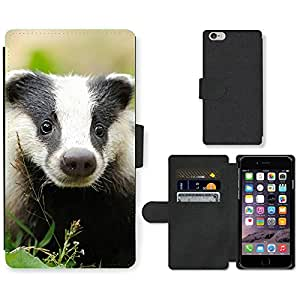 Hot Style Cell Phone Card Slot PU Leather Wallet Case // M99999299 Badger // Apple iPhone 6 4.7""