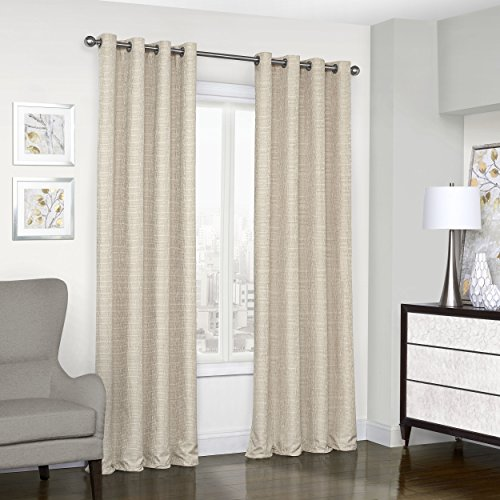 Eclipse Trevi Classic Grommet Single Window Curtain Panel, 52″ x 84″, Natural Review