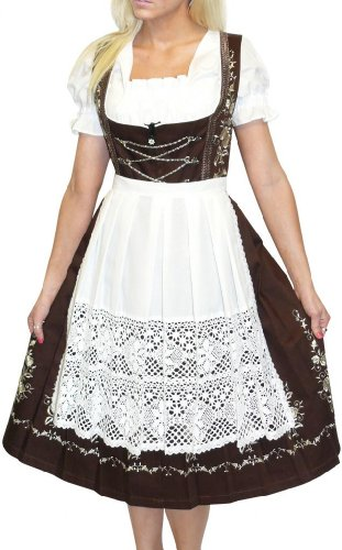 Dirndl Trachten Haus 3-Piece Long German Wear Party Oktoberfest Waitress Dress 12 42 Brown by Dirndl Trachten Haus (Image #4)