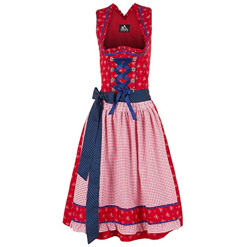 Almbock Exklusive Midi-Dirndl Franzi rot mit rot-karo Schürze in Gr. 34 36 38 40 42 - Oktoberfest-Dirndl, klassisch rot-blau, 60 cm, Blumenmuster