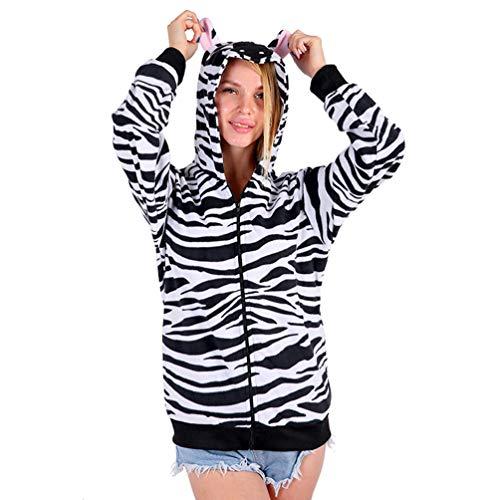 (Adult Unisex Animal Hoodie Fleece Pocket Zipper Closure (Medium, Zebra Hoodies))