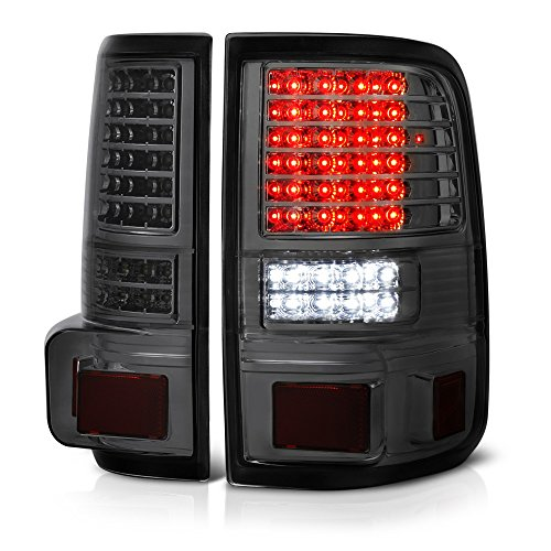 VIPMOTOZ Chrome Smoke Full-LED Tail Brake Light Housing Lamp Assembly For 2004-2008 Ford F-150 Pickup Truck Driver and Passenger Side Replacement Pair