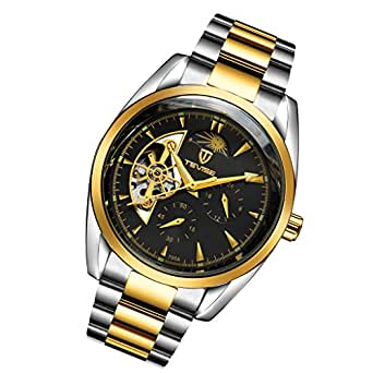 Baosity TEVISE Mens Automatic Mechanical Moon Week Calendar Waterproof Wrist Watch - Gold, as described