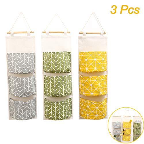 Creatiee 3Pcs Wall Hanging Storage Bag, Waterproof Over The Door Closet Organizer| Linen Farbric Hanging Pocket Organizer with 3 Remote-sized Pockets for Bedroom, Bathroom(Yellow + Gray +Green)