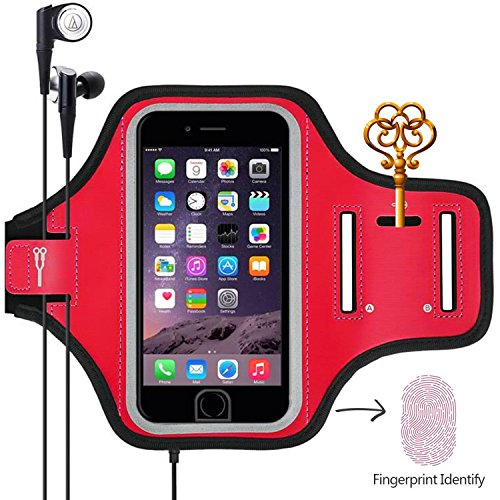 Sports Armband, Universal Outdoor Running Arm Band Workout Cell Phone Bag with Key Holder/Fingerprint Touch for Apple iPhone X/8/7/6S/6 Plus, Samsung Galaxy S8/S7/S6 Edge, Note LG HTC (Pink)
