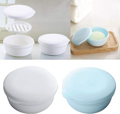 EQLEF Viaje Sello Circular portátil Caja de jabón jabón Hecho a Mano Caja estanca de plástico Caja de jabón / 2 Piezas (Redondo): Amazon.es: Hogar