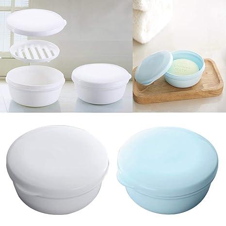 EQLEF Viaje Sello Circular portátil Caja de jabón jabón Hecho a Mano Caja estanca de plástico Caja de jabón / 2 Piezas (Redondo)